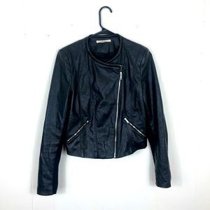 Zara TRF OUTERWEAR Vegan Leather Jacket Sz L